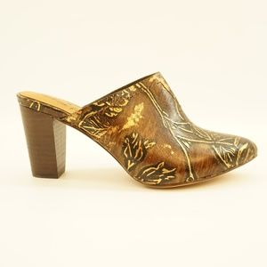 Patricia Nash Printed Leather Mules Brown Gold 6.5